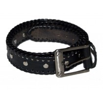 HMB-3932D LEATHER PANTS BELT BRAID STYLE WITH  BUCKLE FIX