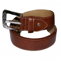 HMB-3933A LEATHER PANTS BELT PLAIN STYLE WITH  BUCKLE BROWN COLOR