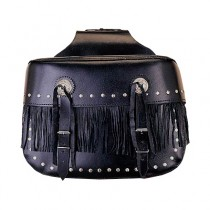 HMB-4030A FREE SHIPPING LEATHER MOTORCYCLE SADDLE BAG STUDS AND FRINGES STYLE