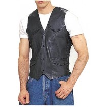 HMB-0498A Men Leather Vests Cowhide