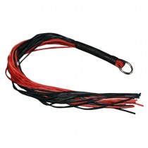 HMB-502C LEATHER FLOGGER GOTHIC RED BLACK BULLWHIPS HEAVY DUTY COSTUME WHIPS