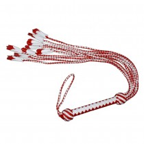 HMB-509G LEATHER NINE O CAT FLOGGER BONDAGE WHIPS RED WHITE BDSM BULLWHIP