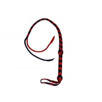 HMB-519B LEATHER BULLWHIP FLOGGER TWO O CAT BULL WHIPS TAILS RED BLACK COLOR