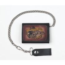 HMB-725D TRIFOLD WALLET CHAIN PURSE LIVE TO RIDE TRUCKER WALLETS