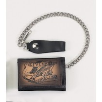 HMB-725H TRIFOLD WALLET CHAIN PURSE WALLETS