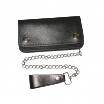 HMB-726A LEATHER BIFOLD WALLET GOTHIC CHAIN BIKER PURSE MEDIUM SIZE WALLETS