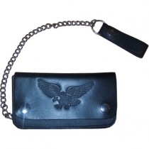 HMB-726D LEATHER BIFOLD WALLET GOTHIC CHAIN BIKER PURSE EAGLE EMBOSSED WALLETS