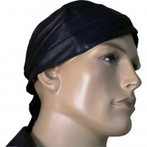 HMB-901A LEATHER SKULLCAP PLAIN BANDANA CAPS DURAG HATS BIKER HEAD GEAR