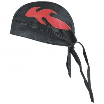 HMB-901F-3 LEATHER SKULLCAP BANDANA CAPS DURAG HATS BIKER HEAD GEAR