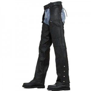 HMB-334A LEATHER CHAPS BLACK ZIPPER STYLE THIGH GATHERED
