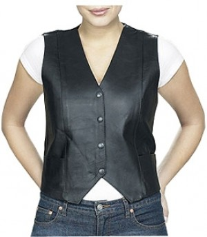 HMB-0344A Women Leather Vests Cowhide.
