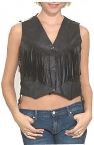HMB-0348A Women Leather Vests Cowhide.