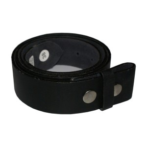 HMB-3931A LEATHER PANTS BELT WITHOUT BUCKLE BLACK SNAPS PRESSURE