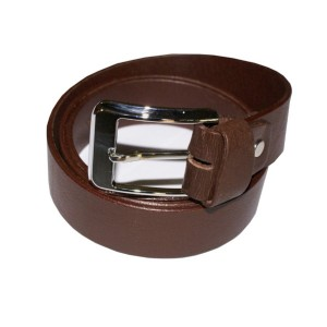HMB-3934A LEATHER PANTS BELT PLAIN STYLE WITH  BUCKLE BROWN COLOR