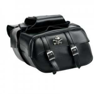 HMB-4146A FREE SHIPPING LEATHER MOTORCYCLE SADDLE BAG SKULL STYLE