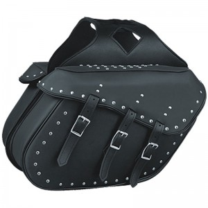 HMB-4168A FREE SHIPPING LEATHER MOTORCYCLE SADDLE BAG STUDS STYLE