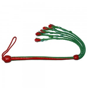 HMB-516H LEATHER FLOGGER BULLWHIP BONDAGE WHIPS BDSM SPANKING BRAID HANDLE ROSE STYLE