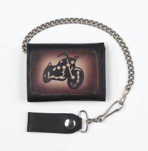 HMB-725E TRIFOLD WALLET CHAIN PURSE WALLETS