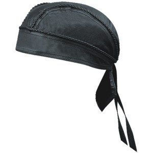 HMB-901A-4 LEATHER SKULLCAP BANDANA CAPS DURAG HATS BIKER HEAD GEAR