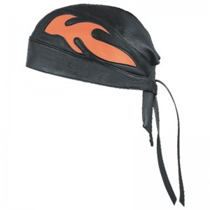 HMB-901E-2 LEATHER SKULLCAP BANDANA CAPS DURAG HATS BIKER HEAD GEAR