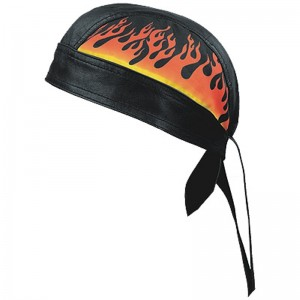 HMB-901L-4 LEATHER SKULLCAP BANDANA CAPS DURAG HATS BIKER HEAD GEAR