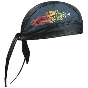 HMB-901L-5 LEATHER SKULLCAP BANDANA CAPS DURAG HATS BIKER HEAD GEAR